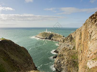 北威尔士安格尔西南塔灯塔视图图片