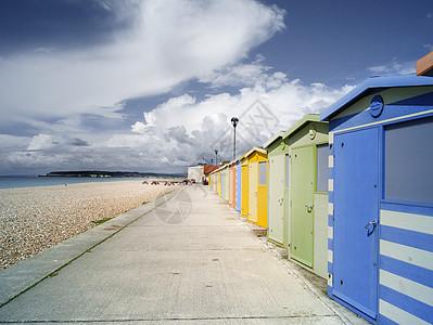 英格兰苏塞克斯西福德海滩小屋图片