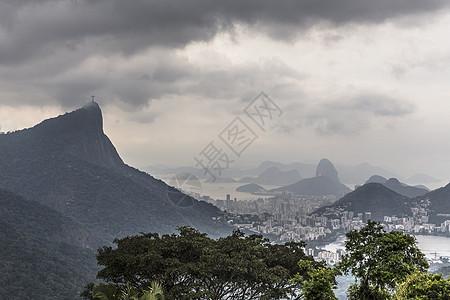 巴西里约热内卢Corcorvado和Sugarloaf山脉的远视图图片