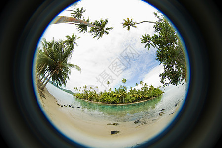 海岛鱼眼透视图图片
