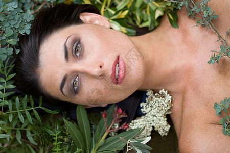 被树叶包围的女性美人图片