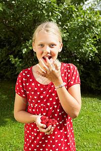 吃新鲜树莓的小女孩图片