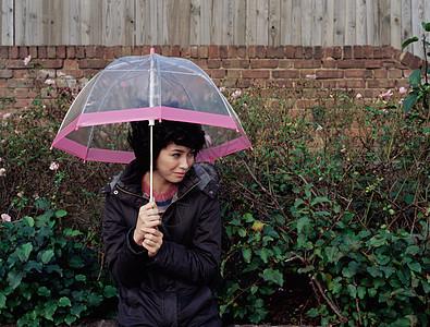 拿着透明伞的女人图片