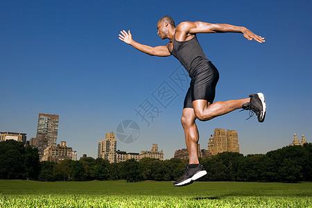 中央公园的运动员图片