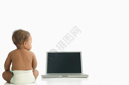 观察笔记本电脑的宝宝图片