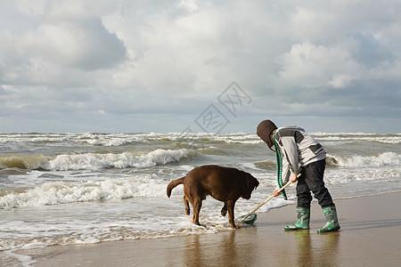 男孩和狗在海边图片