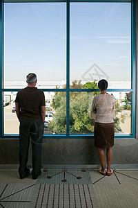办公室工作人员从窗户向外看图片