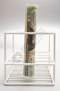 试管里的美国钞票图片