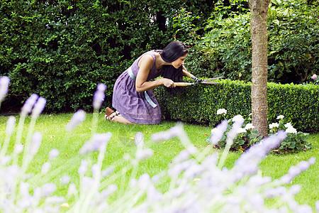妇女在后院修剪植物图片