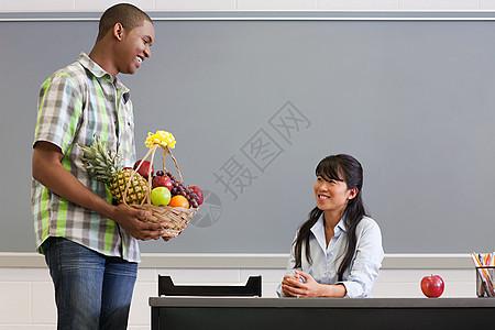 学生给老师送了一篮水果图片