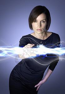 女性触摸科技光线图片