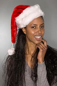 戴着圣诞帽的古怪女人图片