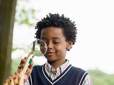 用放大镜看玩具恐龙的男孩图片
