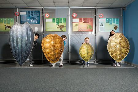 四个朋友站在海龟壳后面图片