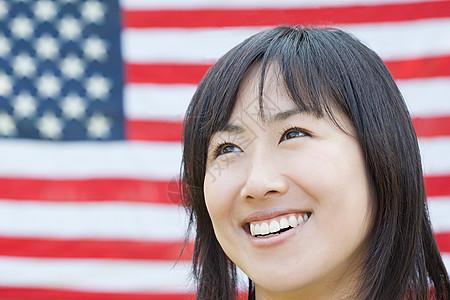 妇女和美国国旗图片