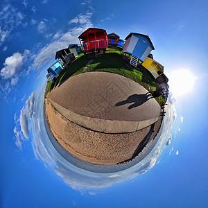 海滩小屋和海岸360全景图片