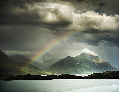 在暴风雨的天空中看到彩虹,高地,苏格兰英国图片