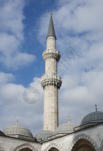 土耳其伊斯坦布尔苏莱曼尼亚清真寺尖塔图片