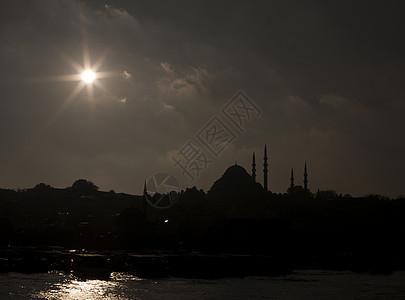 土耳其伊斯坦布尔清真寺轮廓图片