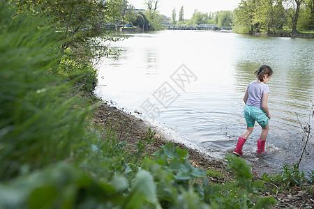 穿雨靴的女孩在池塘边涉水图片