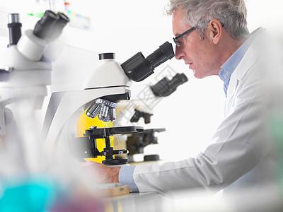 科学家使用显微镜图片