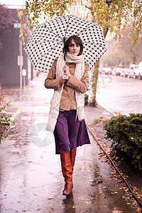 雨中伞下行走的女人图片
