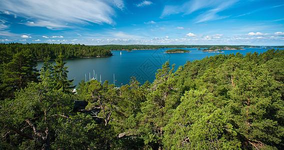 森林和乡村湖泊鸟瞰图图片