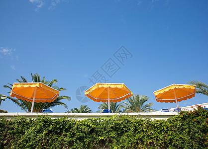 三把黄色的太阳伞图片