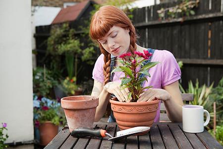 坐在花园里种植植物的女人图片