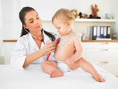 医生检查婴儿图片