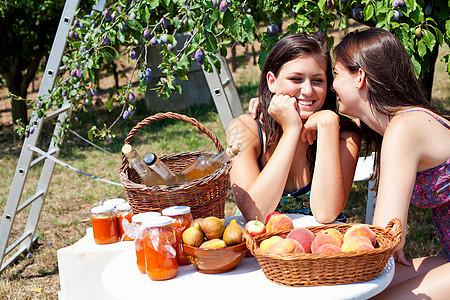 女人在果园里野餐图片