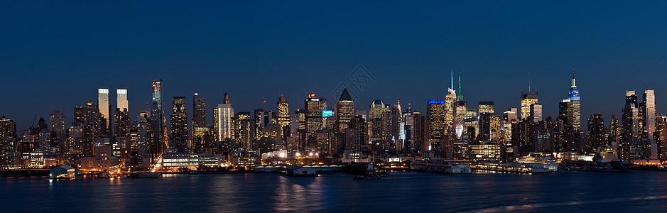 从新泽西州韦霍肯到美国纽约市曼哈顿的景色图片
