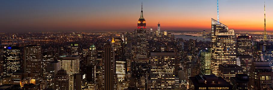美国纽约曼哈顿洛克菲勒中心全景图片