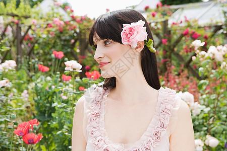 玫瑰色头发女人的肖像图片