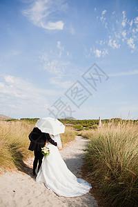 新娘新郎在阳伞下行走图片