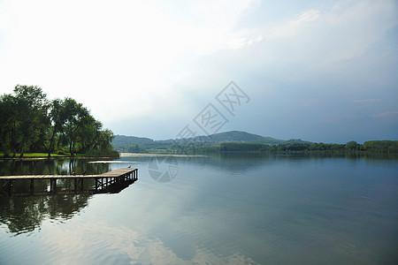 蓝天下的静湖图片