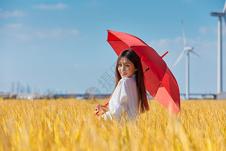 文艺美女手撑雨伞图片