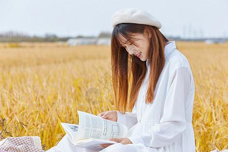 文艺清新女生户外阅读图片