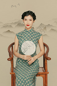 工笔画旗袍美女图片