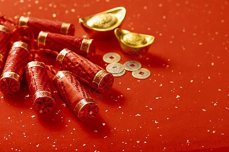 新年鞭炮元宝铜钱图片