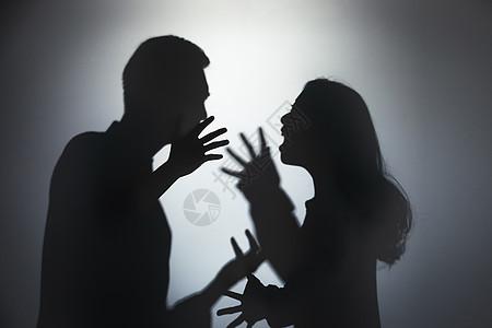 夫妻争吵剪影图片