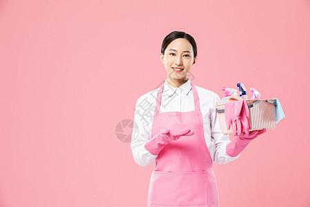 家政服务女性手提清洁工具图片