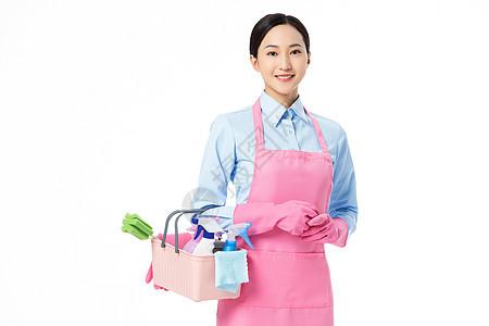家政服务保洁员拿着清洁套装图片
