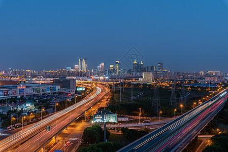 苏州工业园区夜景高架桥车流图片
