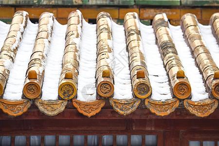 北京故宫博物院屋檐积雪图片