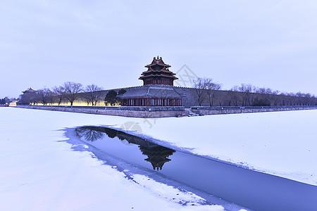 故宫紫禁城角楼的雪景图片