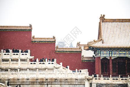 北京故宫博物院的雪景图片