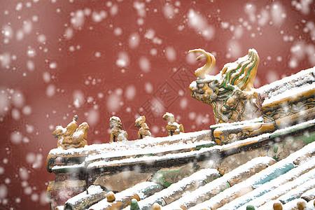 北京故宫红墙琉璃瓦雪景图片