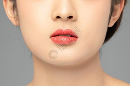 美女嘴唇局部特写图片