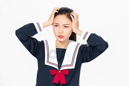 学院风大学生JK服美女的烦恼图片